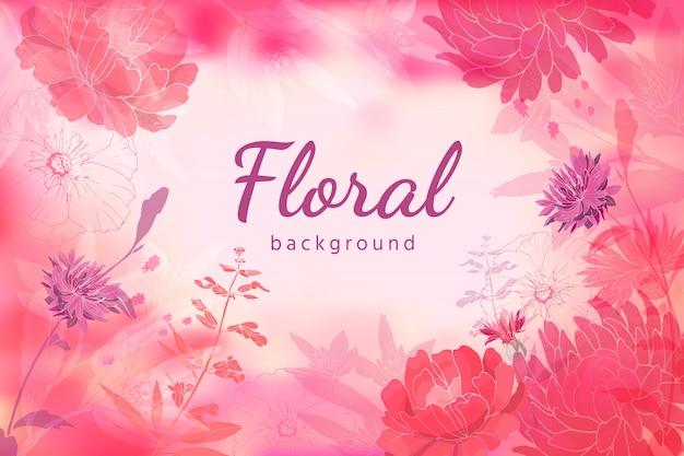 Styl akwareli. kwiaty letnie i jesienne na jasnoróżowym