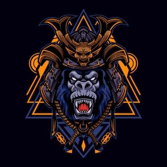 Styl angry gorilla vintage logo z hełmem samuraj