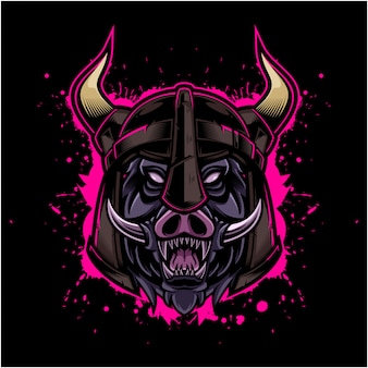 Styl angry hog vintage logo z hełmem wikingów