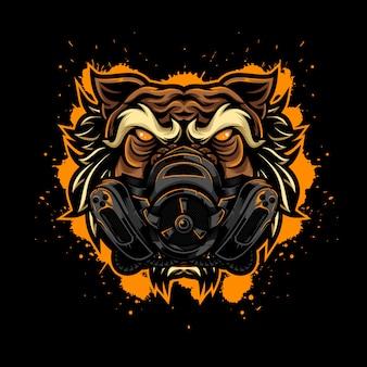 Styl angry tiger vintage logo z maską