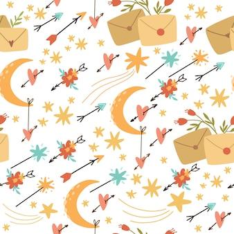 Styl boho wektor wzór, strzałki i kwiaty. romantyczna poczta. użyj do tapet, projektowania, papieru do pakowania