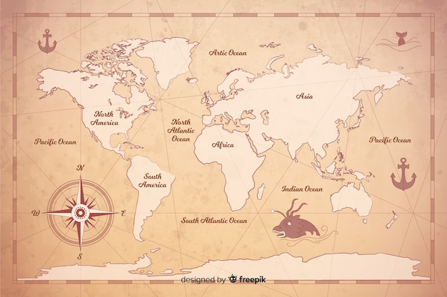 Styl cyfrowej mapy świata w stylu vintage