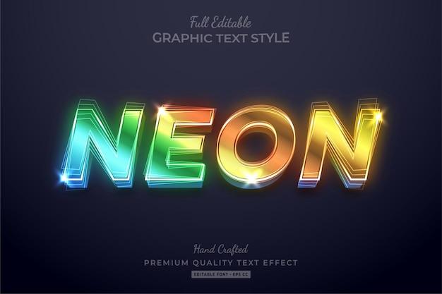 Styl czcionki edytowalnego efektu tekstowego gradientu neonu