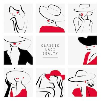 Styl damski. dama w kolekcji portretów kapelusz, ilustracja.