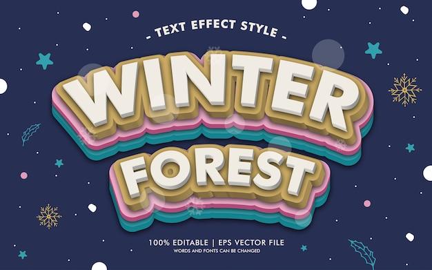 Styl efektów tekstowych zimowy las