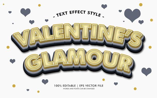 Styl efektów tekstu walentnego glamouru