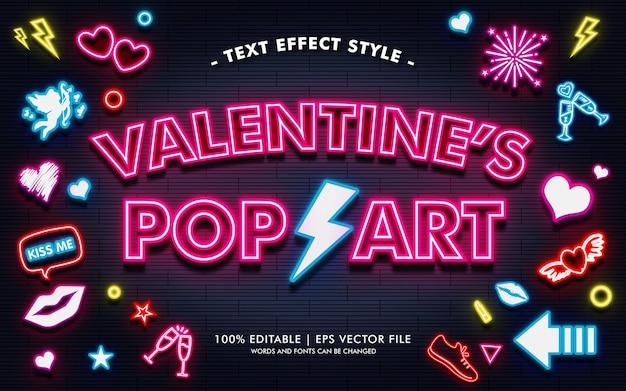 Styl efektów tekstu walentynkowego pop art