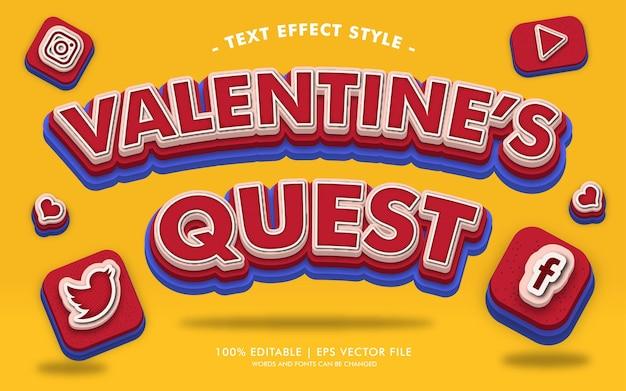 Styl efektów walentynkowego tekstu quest