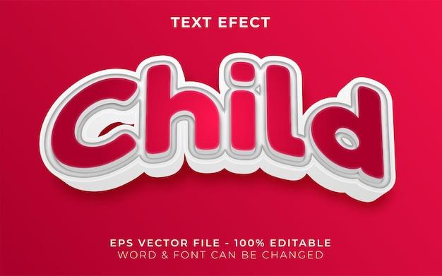 Styl efektu tekstowego 3d child edytowalny efekt tekstowy zakrzywiony motyw