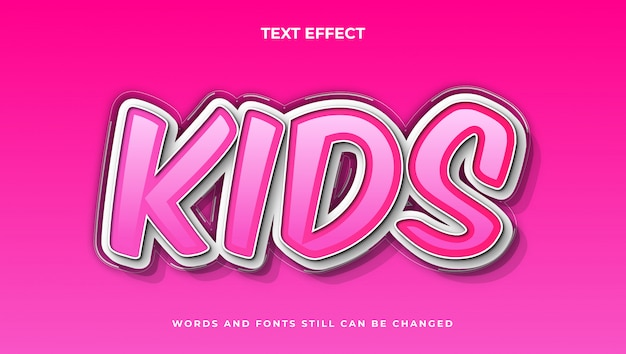 Styl elegancki edytowalny tekst kreskówkowy dla dzieci, nowoczesny efekt komiksowy tekstu 3d