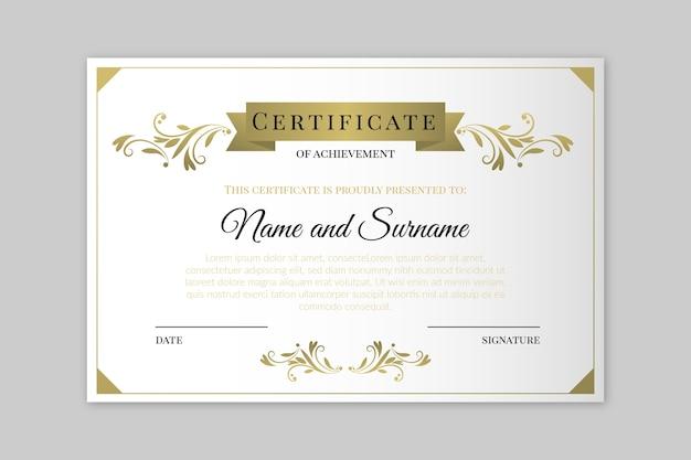 Styl elegancki szablon certyfikatu