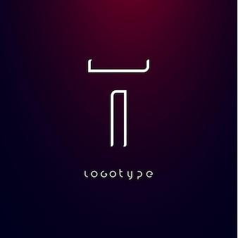 Styl futurystyczny litera t minimalistyczny typ dla nowoczesnego futurystycznego logo elegancki monogram cyber techtech