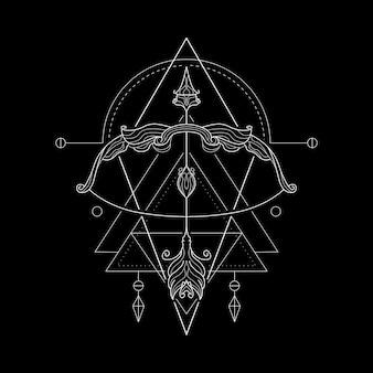 Styl geometri zodiaku strzelec
