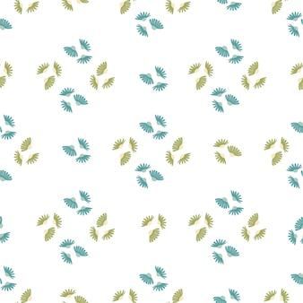 Styl geometryczny wzór z zielonych i niebieskich kwiatów ozdobnych stokrotka kształtów. nadruk na białym tle. przeznaczony do projektowania tkanin, nadruków na tekstyliach, zawijania, okładek. ilustracja wektorowa.