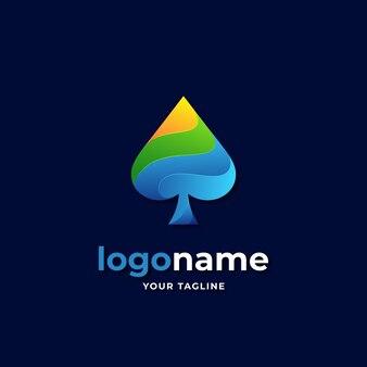 Styl gradientu logo pik dla firmy biznesowej w kasynie pokerowym