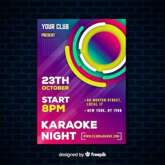 Styl gradientu plakat karaoke szablon