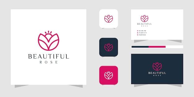 Styl grafiki linii logo kwiat i wizytówki.