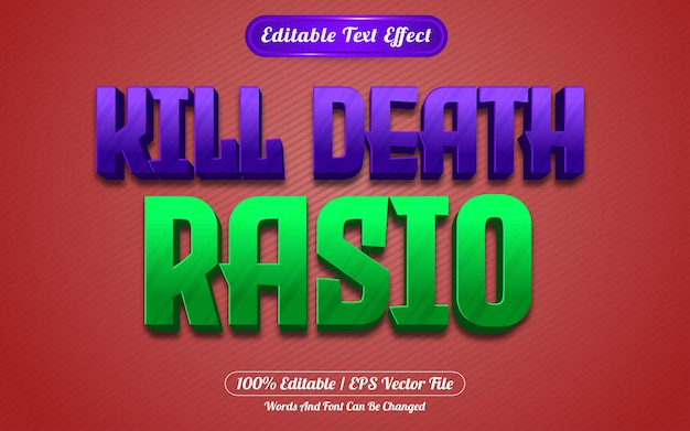 Styl gry z edytowalnym efektem tekstowym kill death rasio