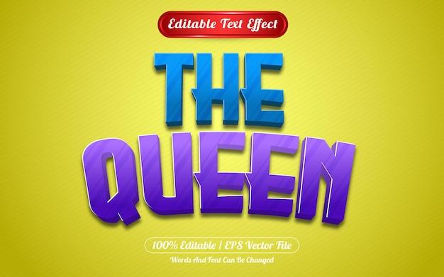 Styl gry z edytowalnym efektem tekstowym królowej