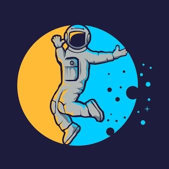 Styl hip hop ładny astronauta na niebieskim tle