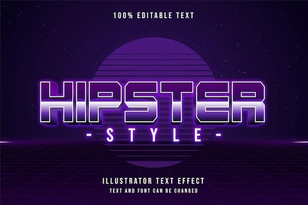 Styl hipster, 3d edytowalny efekt tekstowy fioletowy gradacja różowy styl tekstu cienia lat 80