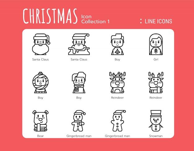 Styl ikony wypełnionej linii. świąteczny awatar