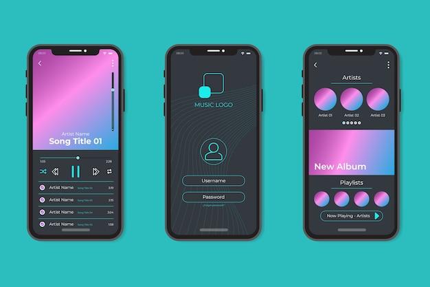 Styl interfejsu aplikacji odtwarzacza muzyki