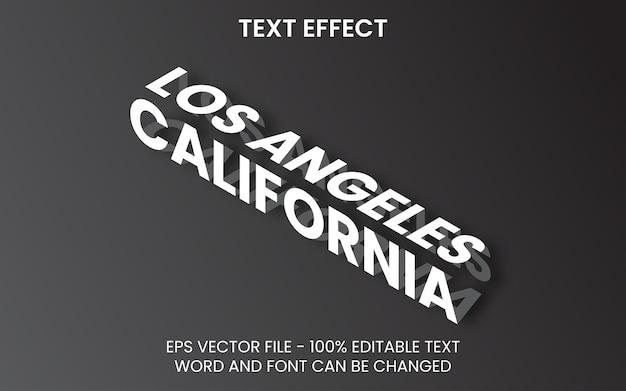 Styl izometryczny z efektem tekstowym w kalifornii edytowalny efekt tekstowy