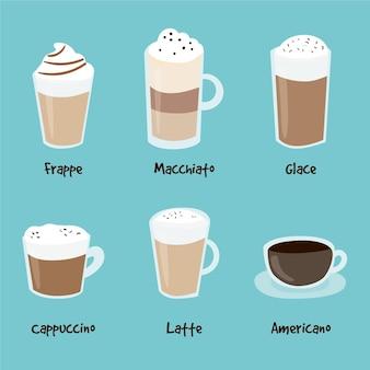 Styl kolekcji rodzajów kawy