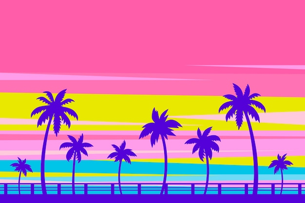 Styl kolorowe palmy sylwetki