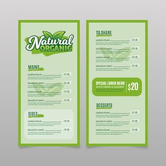 Styl kolorowy szablon menu restauracji