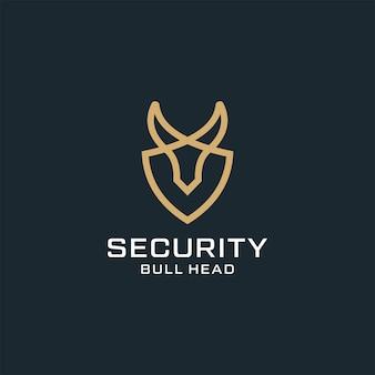 Styl konturu głowy byka do projektowania logo sportu texas western security z symbolem tarczy