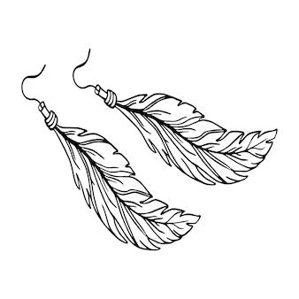 Styl konturu kolczyk z piór. akcesoria na lato. ilustracja wektorowa