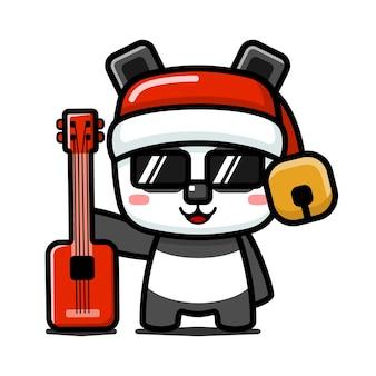 Styl kostki słodka świąteczna panda trzymająca gitarę