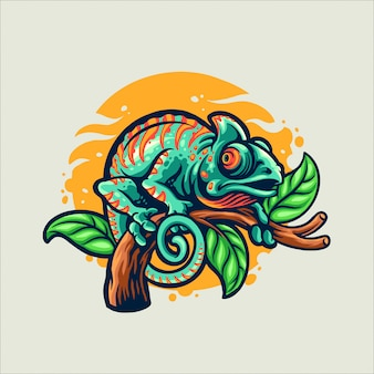 Styl kreskówka kameleon