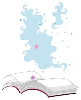 Styl kreskówka książka magia na białym tle