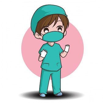 Styl kreskówka lekarz ładny charakter.