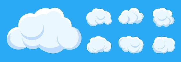 Styl kreskówki biały chmura na tle błękitnego nieba.
