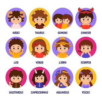 Styl kreskówki kolekcja znaków zodiaku