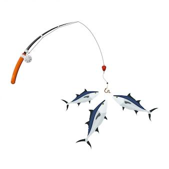 Styl kreskówki. spinning pack i tuńczyk. ilustracja udanego połowu tuńczyka. symboliczne hobby i bezpłatne zaplecze rekreacyjne