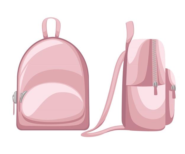 Styl kreskówki szkoły torba. różowy plecak z ikoną zamka błyskawicznego. ilustracja na białym tle. strona internetowa i aplikacja mobilna