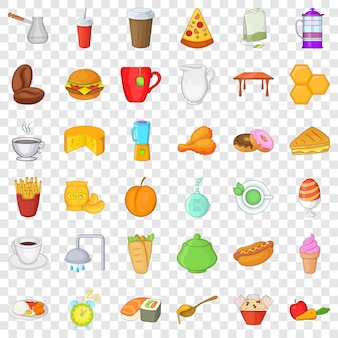 Styl kreskówki z 36 ikonami śniadania