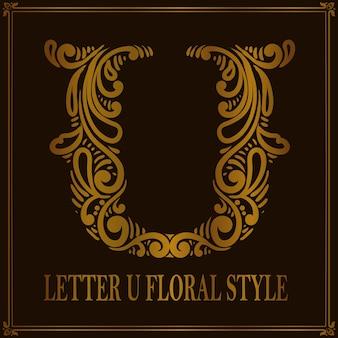 Styl kwiatowy wzór litery u w stylu vintage