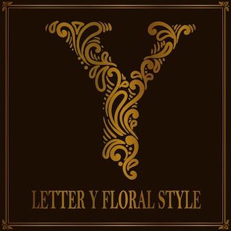 Styl Kwiatowy Wzór Litery Y W Stylu Vintage Premium Wektorów