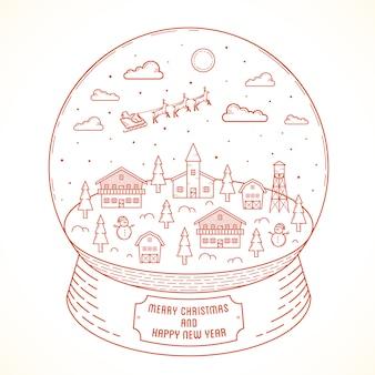 Styl linii boże narodzenie i nowy rok snowball town ilustracji z pozdrowieniami