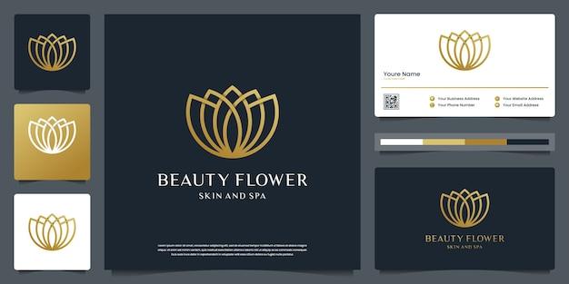Styl linii kwiat lotosu. logo może być używane do spa, urody, salonu, butiku. i wizytówkę