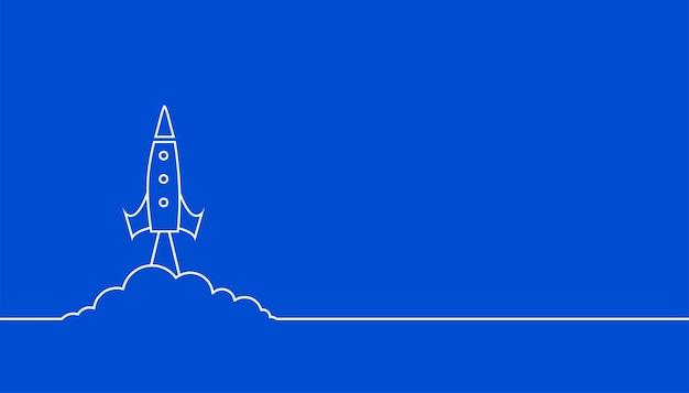 Styl linii latająca rakieta na niebieskim tle