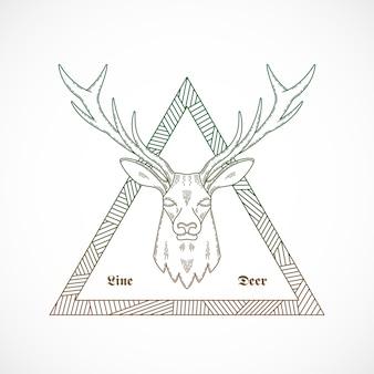 Styl linii streszczenie ilustracji jelenia twarz graniczy w trójkącie z plemiennym wzorem.