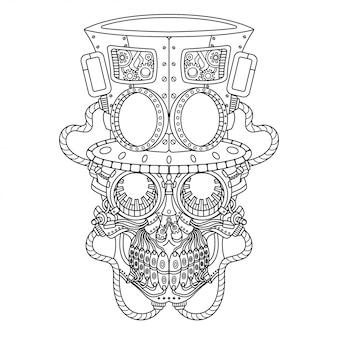 Styl liniowy ilustracji steampunk czaszki