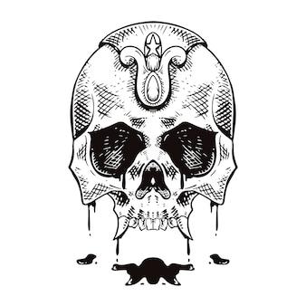 Styl liniowy kreskowania czaszki